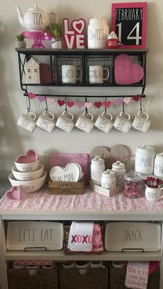 Rae Dunn Valentines Display Coffee Bar
