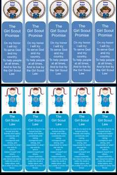 Daisy Scout bookmarks- to help them remember the law and promise.