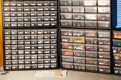 Akro-Mils 64 Drawer Plastic Parts Storage Hardware and Craft Cabinet, x x Black Lego Storage Drawers, Plastic Storage Cabinets, Lego Table With Storage, Lego Storage Brick, Storage Bins, Storage Ideas, Storage Organization, Storage Solutions, Game Storage