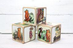 Winnie The Pooh  Baby Blocks  Nursery Room Decor  by Booksonblocks