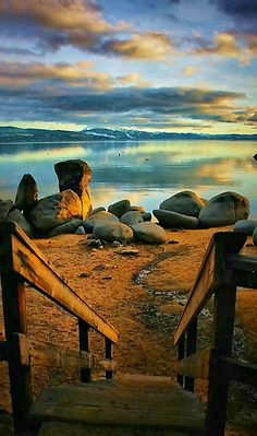 Stairway to Speedboat Beach on the north shore of Lake Tahoe at sunset, California by Barbara  Brown.