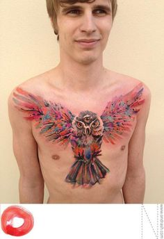 Watercolor tattoos by Ondrash, owl