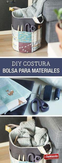 Aprende a coser una bolsa para tus materiales de costura, punto o ganchillo en este tutorial DIY - en DaWanda.es