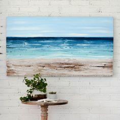 Beach painting on wood nautical decor, ocean painting beach artwork, reclaimed wood beach house art, housewarming gift, coastal seascape Wood Painting Art, Painting Frames, Wood Art, Wood Paintings, Pallet Painting, Rustic Wall Decor, Rustic Walls, Wood Walls, Coastal Decor