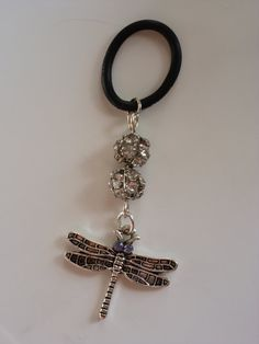 Silver tone dragonfly with lavender rhinestone - Vape Charm