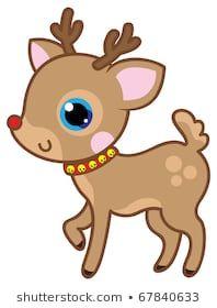 Cute Kawaii Christmas Deer Reno Animal Dibujos Kawaii Ciervos De Navidad