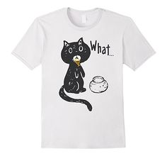 """Funny Animal T-Shirt - Cute Cat Caught Eating Gold Fish """"What"""". Funny Shirts for women, men, boys and girls, teens. ~ Amazon Prime"""