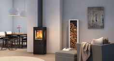 QUADRO 2 - Wood heating stove / corner / metal / contemporary by Nordpeis Foyers, Small Stove, Log Store, Pellet Stove, Into The Woods, Wood Burner, Living Room Grey, Glass Panels, Home Appliances