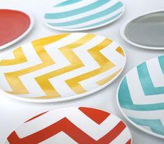 platos vajilla estampado chevron pattern plates miraquechulo