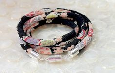 TINY CHERRY BLOSSOMS on Black with Pink Chirimen by Chiriwraps, $24.00