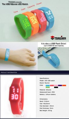 New Silicone LED Flash Drive Watch. A great new corporate giveaway gift!