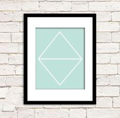 MINT GEOMETRY - Modern Geometric Art Print - Minimalist Diamond Archival Wall Art. $19.00, via Etsy.