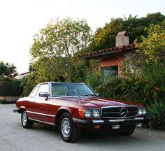 Gran's 1978 model SL convertible Benz. I loved the cat ear head rests.