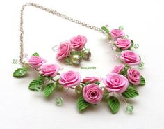 Pink Roses Flower Jewelry Romantic Necklace Pink by #insoujewelry #weddingjewelry