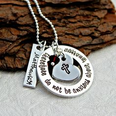Confirmation Bible Verse Necklace Character Counts, Cross Heart, Friend Jewelry, Christian Jewelry, Confirmation, Aspen, Beautiful Necklaces, Hand Stamped, Birthstones