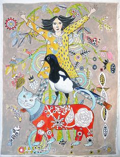 Magpie Cat  Original Painting on paper by irinashop on Etsy, $110.00