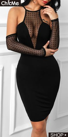 Dot Mesh Cold Shoulder Bodycon Dress is part of braids - braids Tight Dresses, Satin Dresses, Cute Dresses, Beautiful Dresses, Casual Dresses, Fashion Dresses, Simple Dresses, Sexy Outfits, Bodycon Dress Formal