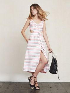 The Gisela Dress lets you feel like a lady but also show a little here and there. https://www.thereformation.com/products/gisela-dress-sundeck-stripe?utm_source=pinterest&utm_medium=organic&utm_campaign=PinterestOwnedPins