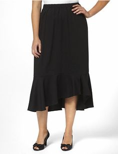 Silky, gauze fabric and a stretch fit make this crisp, crepe skirt an essential style. Features a pull-on elastic waistband for added comfort. Finished with a tiered, ruffled hem design on the front. Lined. To provide a stylish and comfortable fit, Catherines plus size skirts are made specifically for a fuller figure.  catherines.com
