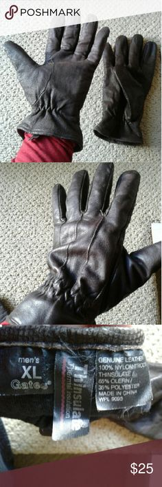 Leather Gloves Mens XL Thinsulated Leather Gloves Mens XL Thinsulated  Used, but in great condition Brown dark brown  Leather outer Soft inside Holiday gift Stocking stuffer Accessories Gloves