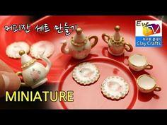 미니어쳐 커피잔세트 만들기 아이클레이 폴리머클레이 miniature coffee plates clay - YouTube