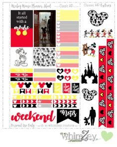 Free Printable Mickey Mouse Planner Stickers from Oh So WhimZey