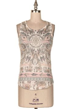 ELEPHANTS TRIBAL PRINT KNIT TANK.   #9O-ICT10873