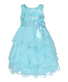 Another great find on #zulily! Easter Blue Sequin Ruffle Dress - Infant, Toddler & Girls by American Princess #zulilyfinds