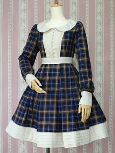 Victorian maiden tartan check tuck dress in royal green (no stock picture for that colour)