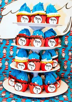 Kara's Party Ideas Thing 1 and Thing 2 Twin Birthday Party {Ideas, Supplies, Decor} Twin Birthday Parties, Twin First Birthday, Birthday Party Themes, Birthday Ideas, Twin Baby Shower Theme, Dr Seuss Party Ideas, Cat In The Hat Party, 2nd Baby Showers, Childrens Party