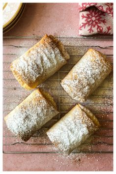 Bougatsa (Μπουγάτσα) – Taking the guesswork out of Greek cooking…one cup at a time Greek Sweets, Greek Desserts, Greek Recipes, Mini Desserts, Plated Desserts, Bougatsa Recipe, Baklava Recipe, Greek Cookies, Baking Supply Store