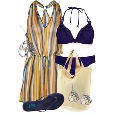 Striped BeachDress, created by hollyhalverson on Polyvore