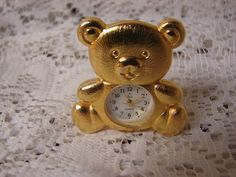 Lava Collectible Brass Miniature Quartz Novelty Clock Teddy Bear