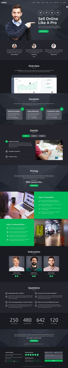 Argo is clean and modern design 6in1 responsive #bootstrap template for #edtech #training course landing page website download now..
