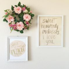 How sweet is this mini-gallery wall in a vintage-inspired nursery?! Love that floral wreath!