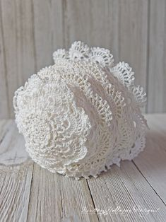 Victoria Rose Baby Bonnet Crochet Pattern - A Beautiful, Vintage Style, Lace Heirloom - Kirsten Holloway Designs - The Victoria Rose Baby Bonnet free crochet pattern worked in vintage, crochet thread I picked u - Crochet Thread Patterns, Crochet Baby Hat Patterns, Vintage Crochet Patterns, Crochet Hats, Crochet Designs, Baby Patterns, Dress Patterns, Booties Crochet, Doily Patterns