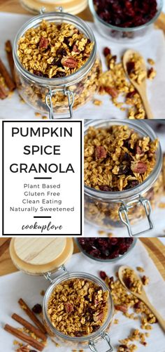 This Pumpkin Spice Granola is sweet, crunchy & full of delicious pumpkin spice! Perfect served as a snack, with milk as a cereal, over yogurt with fruit, or even as a sweet treat to satisfy your sweet Cheap Clean Eating, Clean Eating Recipes, Clean Eating Snacks, Eating Healthy, Granola, Pumpkin Spice Syrup, Pumpkin Puree, Pumpkin Recipes, Fall Recipes