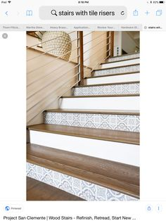 Every other stair done, clean look. Tile Stairs, Wood Stairs, Stair Case, Stair Risers, San Clemente, Stickers, Interior Design, Bathroom, Home Decor