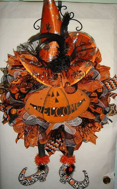 Pumpkin Welcome Witch Mesh Wreath with Hat n by StarlightWreaths