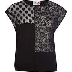 black patchwork lace chelsea girl t-shirt - t-shirts - t shirts / vests / sweats - women - River Island