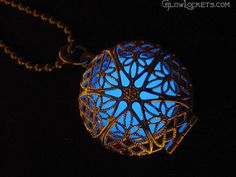 Blue Frost Mystic Glow Locket Silver Plated by MoniqueLula on Etsy, $23.00