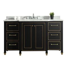 Home Decorators Collection Florence 60 in. W Vanity in Black with Marble Vanity Top in White with White Basin
