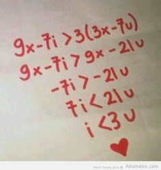 """My inner math nerd heart just exploded a little. Then my actual math nerd said read it out loud. """"I is less than 3 of u"""" My Funny Valentine, Valentines Day, Valentine Cards, Math Jokes, Math Humor, Funny Math, Nerd Humor, Dog Jokes, Nerd Love"""