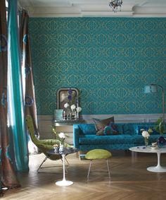 House of Turquoise: Sumptuous Turquoise Wallpaper - can i do this somewhere?!