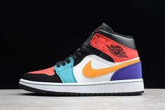 "6b4b1520a83 2018 Air Jordan 1 Mid ""Multi-Color"" White/Red/Multi-"