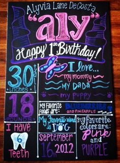Happy 1st Birthday Aly.  Butterfly.  Birthday Chalkboard.  Don't forget to LIKE/FOLLOW on Facebook and Instagram.