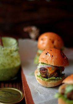 Lamb kebab sliders with coriander mint mayo
