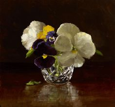 Sarah Lamb, Pansies, oil, 8 x 8 inches