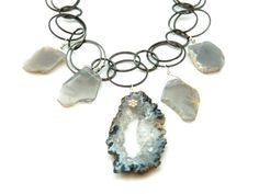 Geode Slice Organic Moonstone and Mixed Metal by Shabbychicbeads, $68.00