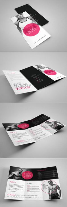 Buy Fitness Tri-Fold Brochure 2 by on GraphicRiver. Professional Tri-Fold Brochure perfect for fitness studio or gym, can be used for other business too. Layout Design, Graphisches Design, Print Layout, Book Design, Print Design, Design Brochure, Brochure Layout, Branding Design, Leaflet Layout